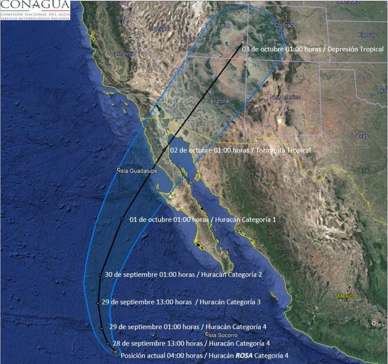 El huracán Rosa de categoría 4 genera lluvias en el oeste y noroeste de México